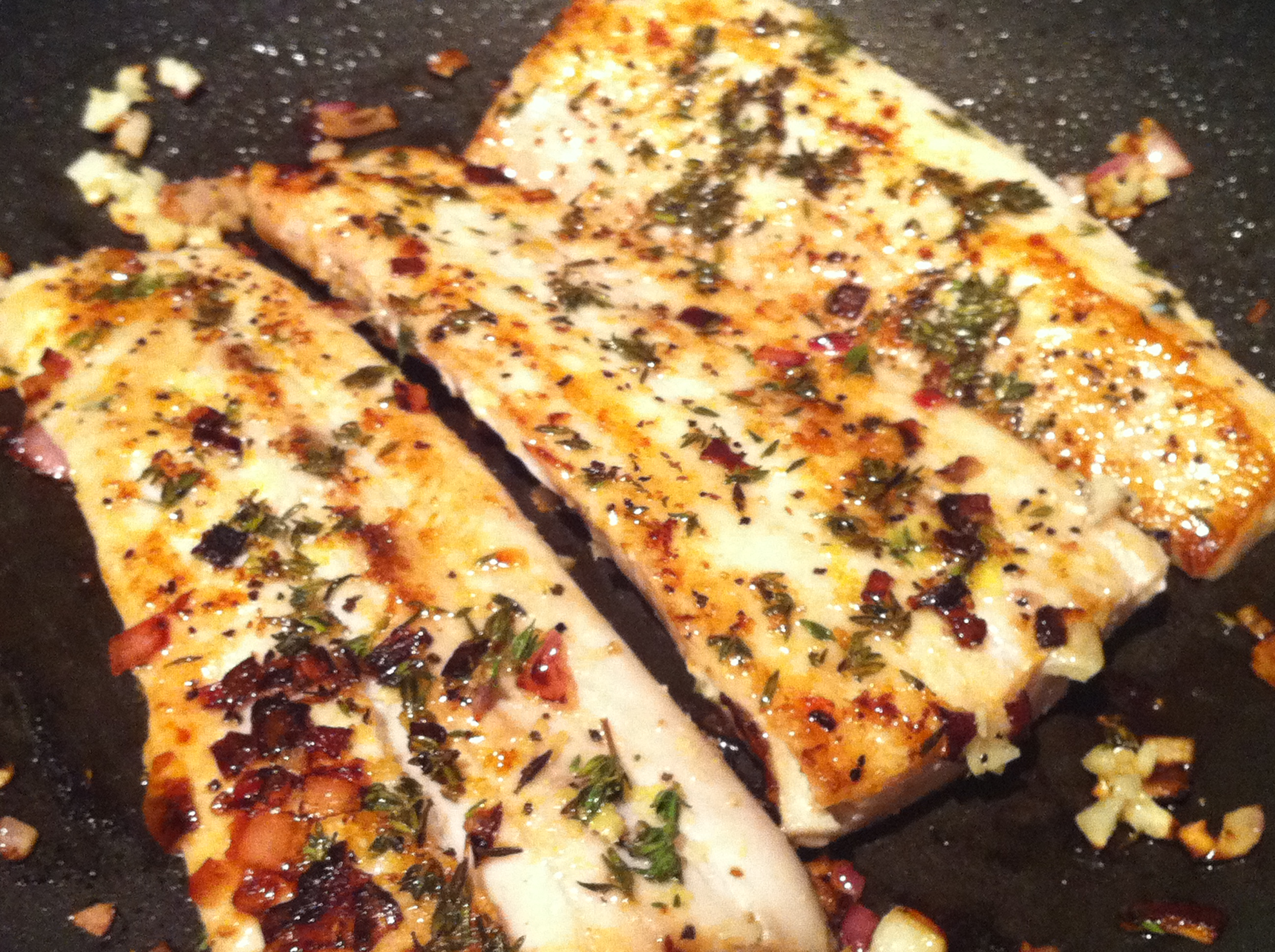 Pan seared mahi mahi w lemon garlic thyme healthy for Fish for diabetics