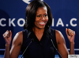 First Lady Michelle Obama Thanks Supporters At Campaign Event In Las Vegas