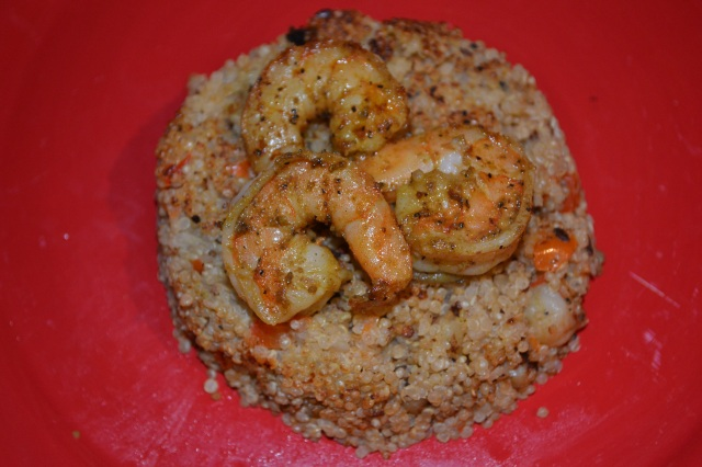 Quinoa Pattie Topped w:Curry Shrimp