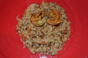 Quinoa Pile w Curry Shrimp