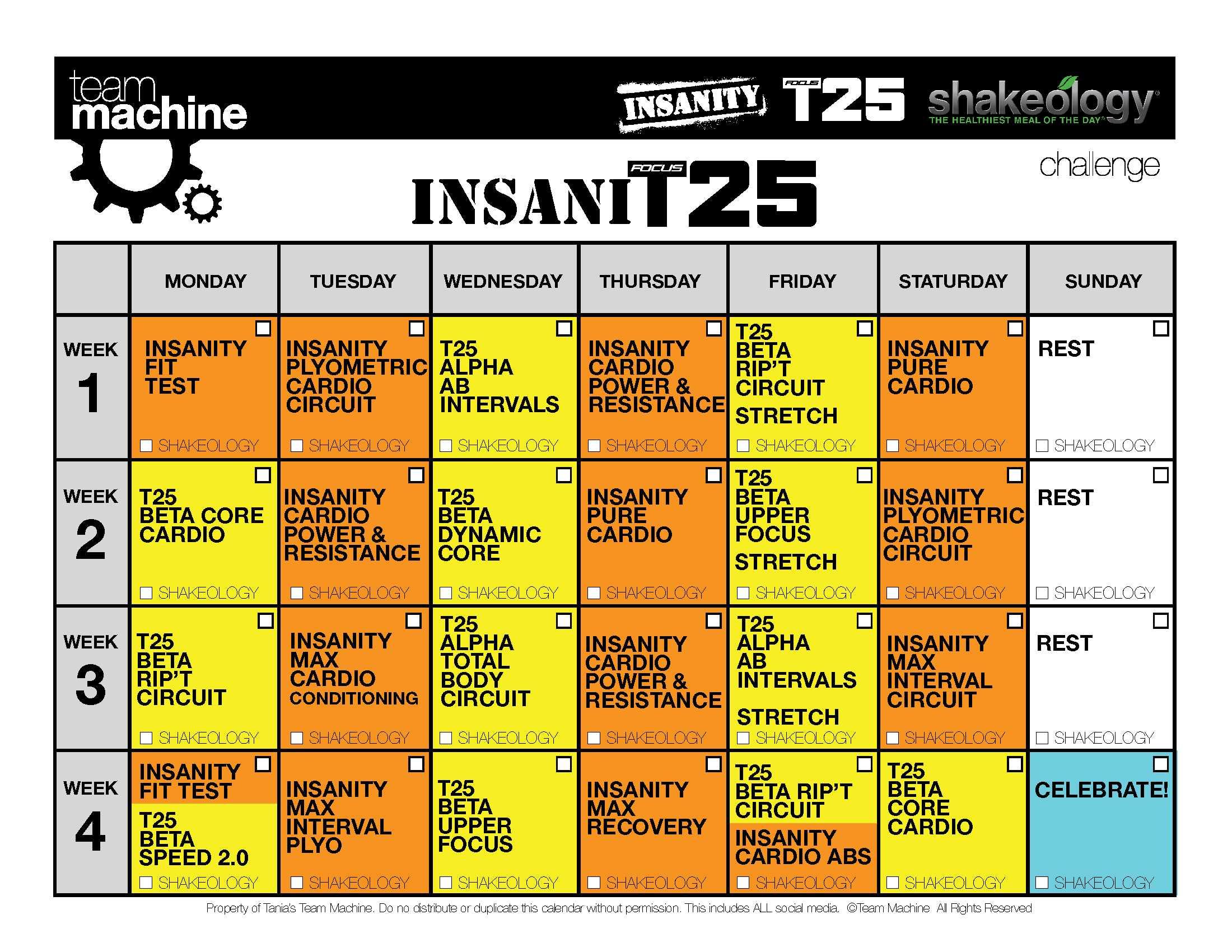 Workout Calendar T25 : Insanity t hybrid insanit workout review calendar